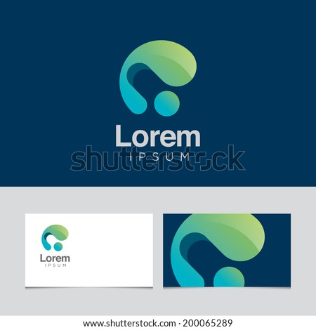 Abstract design element with business card template 02 - stock vector
