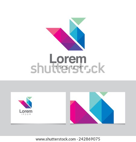 Abstract design element with business card template - 16 - stock vector