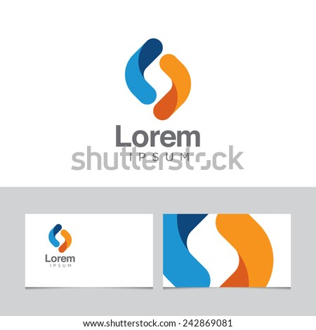 Abstract design element with business card template - 14 - stock vector