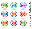 abstract design elements: glossy orbit icons - stock vector