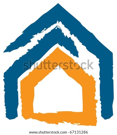 Abstract Design expressing the concept of insurance, safety, security. Icon of a House - stock vector