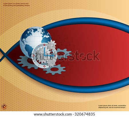 Abstract, design for technology background with Earth globe and gear/clock; Earth globe behind three dimensions gear as mechanism of a clock on hexagonal backdrop; Large space for text - stock vector