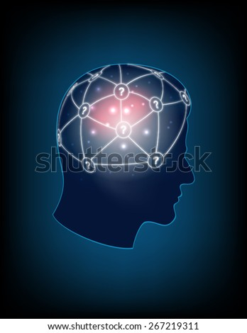 Abstract design  human head and symbolic elements on the subject of human mind, consciousness, imagination, science and creativity - stock vector