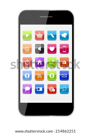 Abstract Design Mobile Phone with Glass Button Icons . Vector Illustration EPS10 - stock vector