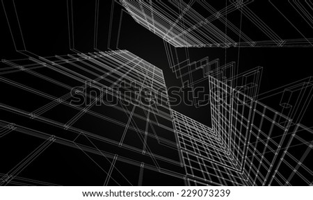 Abstract design. Modern architecture wireframe space  - stock vector
