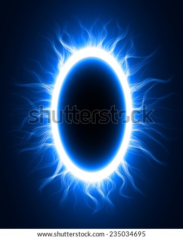 abstract design of blue magic portal gate (outer,curved lines.vector version) - stock vector