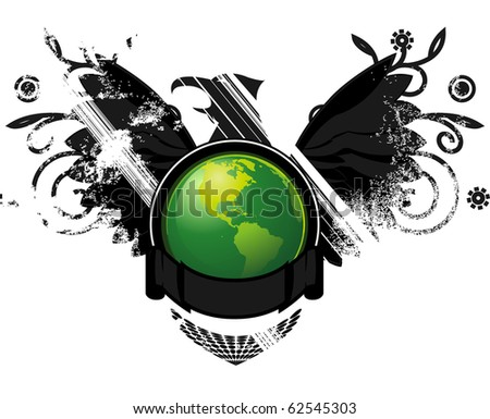 Abstract design of dying earth elements such as wildlife and fauna, represented by the black grunge elements behind the earth emblem. - stock vector