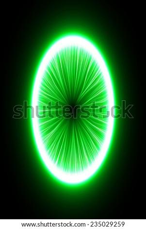 abstract design of green magic portal gate (inner long lines.vector version) - stock vector