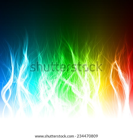 abstract design of multi colored magic flame.(long lines version)