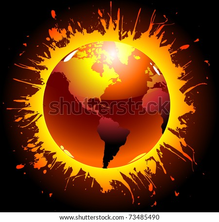 Abstract design of world globe exploding - stock vector