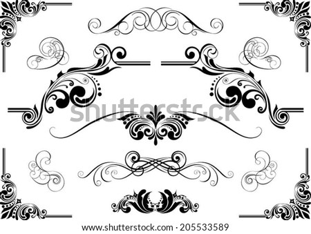 Abstract design set of floral ornaments - stock vector