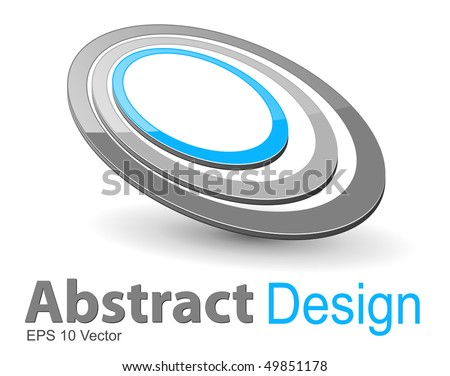 Abstract design symbol, 3d ellipses grey and blue, vector.