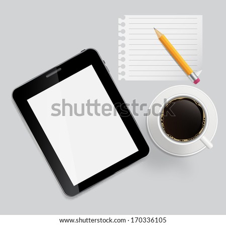 Abstract design tablet, coffee, pencil, blank page on boards Background  vector Illustration. - stock vector