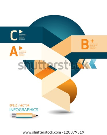 abstract Design template / can be used for infographics / numbered banners / horizontal cutout lines / graphic or website layout vector/Horizontal - stock vector