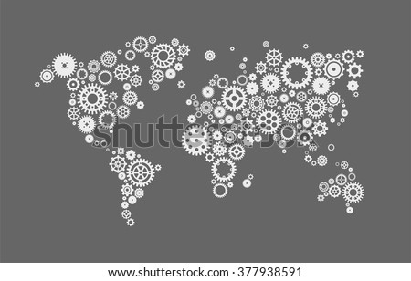 Abstract design vector illustration of a world map made of machine gears. Gears world map image. Gears world map illustration. Gears world map vector. Gears world map abstract. Gears world map set. - stock vector