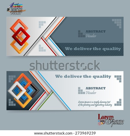 Abstract design web banner; Header layout template; Set of banners with squares and space for text.  - stock vector