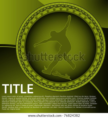 Abstract design with circle frame and skateboarder silhouette - stock vector