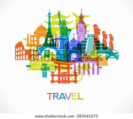 Abstract design with famous landmarks. Vector illustration. File is saved in AI10 EPS version. This illustration contains a transparency  - stock vector