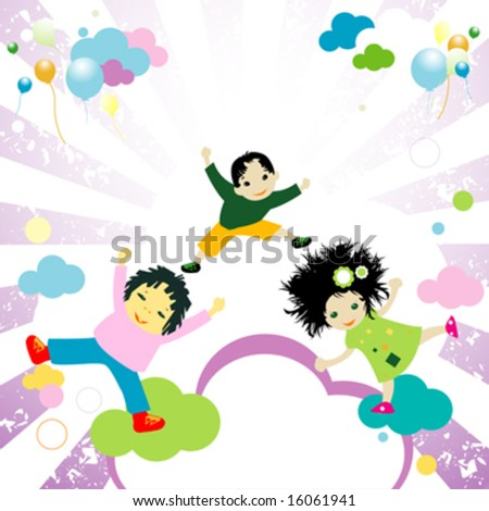 abstract design with happy kids jumping