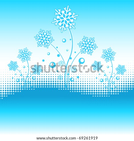Abstract design with snowflakes. Text-space at the bottom. - stock vector