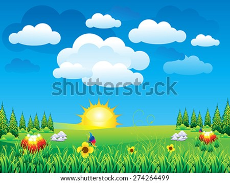 abstract detailed green nature scene vector illustration - stock vector