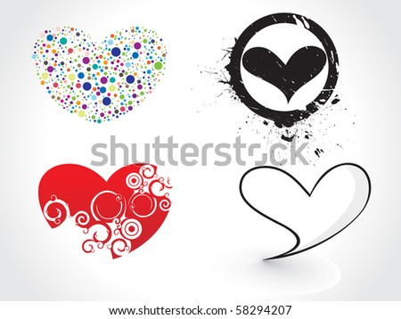 abstract different colors hearts design, vector illustration. - stock vector