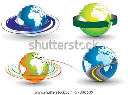 abstract different colors  swirl globe set, vector illustration.