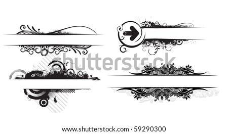 abstract different different grunge stylish banners with space of your text. - stock vector
