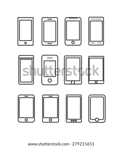 Abstract different mobile gadgets collection. Design elements - stock vector