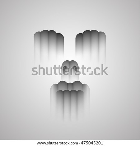 Abstract diffuse face silhouette. Horror scene with shadowed woman portrait , abstract  Glitch facial expression by rounded strips on a gray background.