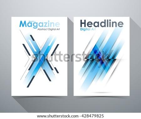 Abstract Digital Art Design, Blue tone, X-shape and lines tilt, Online Design Magazine, Poster Brochure ayout vector illustration template A4 size. - stock vector
