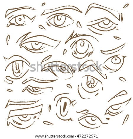 Abstract Digital Art Of Manga Eyes Drawing Outline In Different Cartoon Character Style