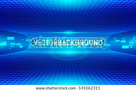 abstract digital blue background with lines, rectangles and glow - stock vector