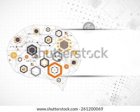 Abstract digital brain,technology concept. Vector - stock vector