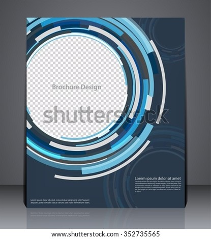 Abstract digital business brochure flyer design in A4 size, layout cover design in blue colors - stock vector