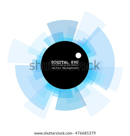 Abstract digital eye. Diverging rays. Vector illustration