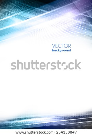 Abstract digital geometric modern blue color background with lighting effect. Design template layout for corporate business book, booklet, brochure, flyer, poster, banner. Vector - stock vector