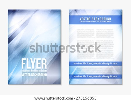 Abstract digital geometric modern blue color backgrounds. Back and front flyer. Cover design template layout for corporate business book, booklet, brochure, poster. Vector - stock vector