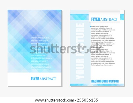 Abstract digital geometric modern soft blue color backgrounds. Back and front flyer. Cover design template layout for corporate business book, booklet, brochure, poster. Vector - stock vector