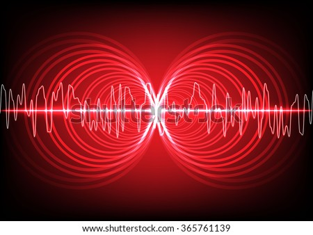 abstract digital multi circle with wave surround on red color background - stock vector
