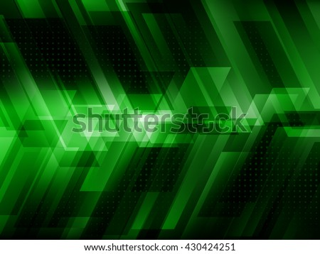 Abstract digital technology background with green stripes. Hi-tech concept vector illustration - stock vector