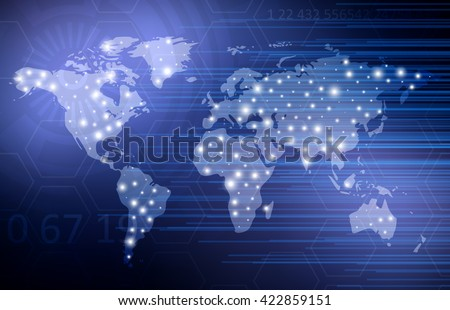Abstract digital technology background world map vectores en stock abstract digital technology background with world map vector template design gumiabroncs Gallery
