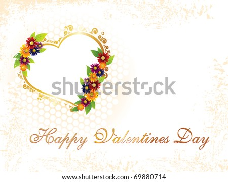 abstract dirty texture background with decorated romantic heart - stock vector