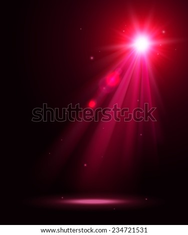 Abstract disco background with pink spot lights and bright rays. - stock vector
