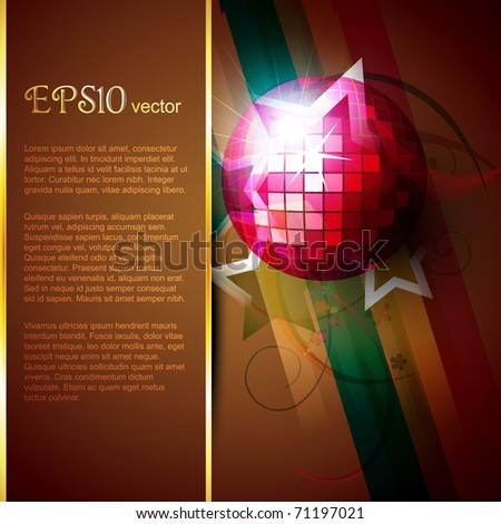 abstract disco ball beautiful design with space for your text - stock vector