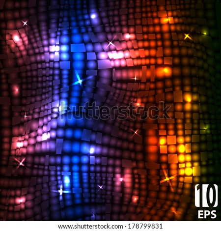 Abstract disco glowing of background. Vector illustration