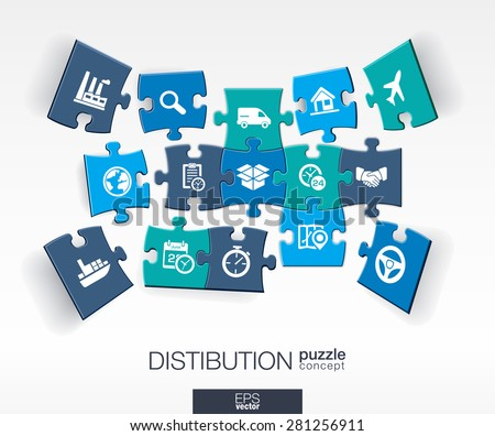 Abstract distribution background with connected color puzzles, integrated flat icon. 3d concept with Delivery, service, shipping, logistic, transport, market pieces in perspective. Vector illustration - stock vector