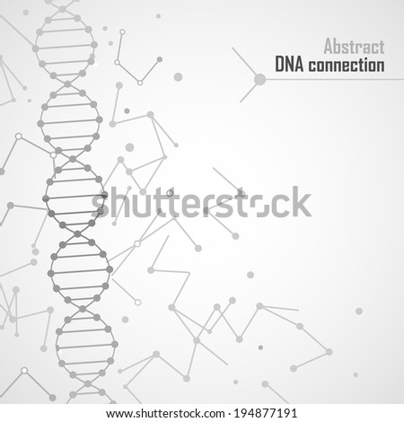 Abstract dna connection background with abstract molecular elements - stock vector