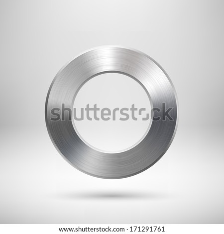 Abstract donut, ring badge, blank button template with metal texture (chrome, silver, steel), realistic shadow and light background for user interfaces, UI, applications and apps. Vector illustration. - stock vector