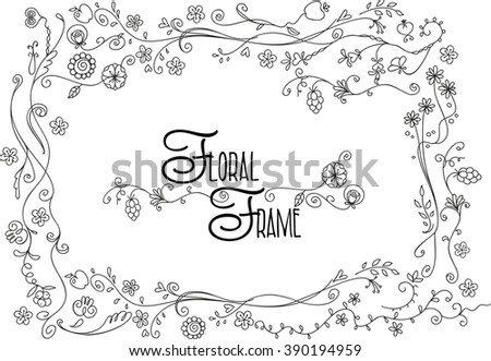 Abstract doodle floral decorative frame, vector illustration - stock vector